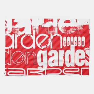 庭; 深紅の赤のストライプ キッチンタオル