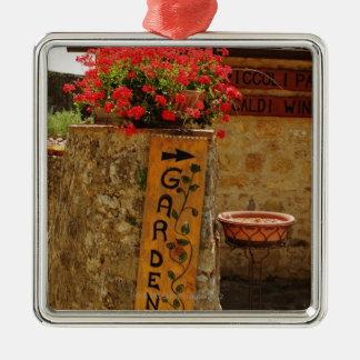 庭、Monteriggioni、シエナの花 メタルオーナメント