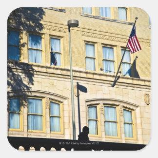 建物から、サン・アントニオつるす、旗 スクエアシール