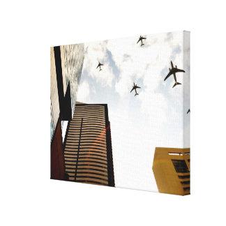 建物に飛ぶ飛行機 キャンバスプリント