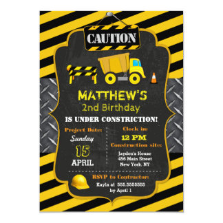建築のダンプトラックの誕生日の招待状 カード