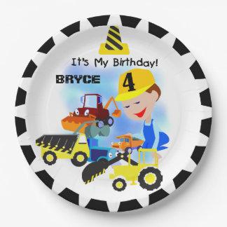 建築のトラックの第4誕生日の紙皿 ペーパープレート