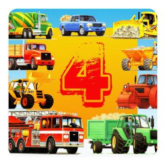 建築は子供の第4誕生会をトラックで運びます カード