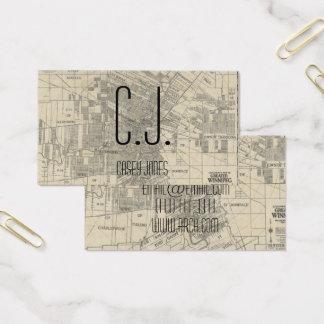 建築家の地図の建物の青写真の名刺 名刺