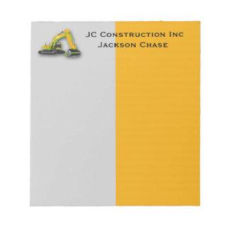 建設用機器のバックホウのメモ帳 ノートパッド