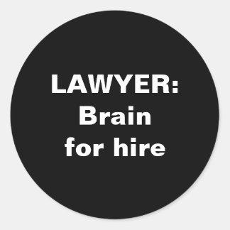 弁護士のステッカー: 賃借りのための頭脳 ラウンドシール