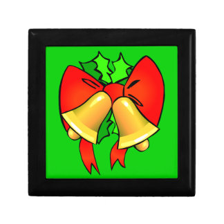 弓および鐘のお祝いのクリスマスのプレゼント箱 ギフトボックス
