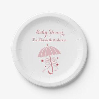 弓が付いているガーリーなベビーシャワーのかわいいピンクの傘 ペーパープレート