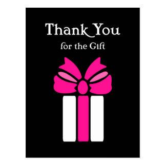 弓とモダンなピンクそして黒いありがとう ポストカード