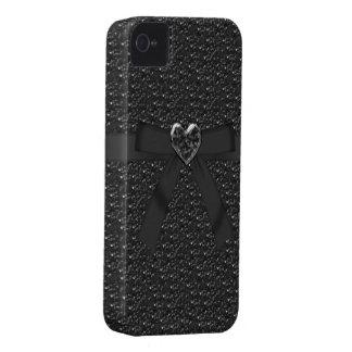 弓及び宝石のハートの黒のスパンコールのiphone 4ケース Case-Mate iPhone 4 ケース