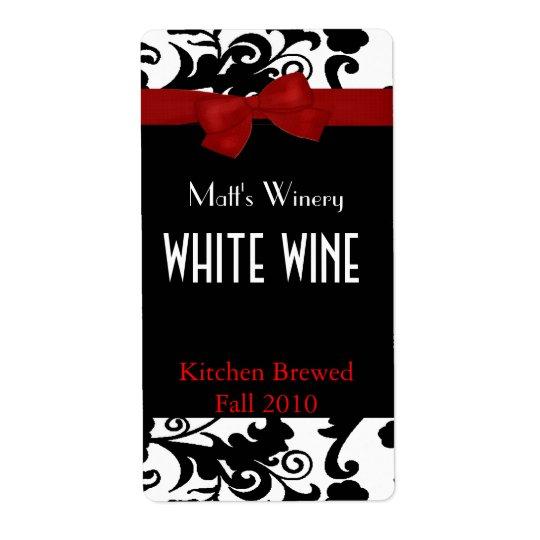 弓家によってなされるワインのラベルが付いている黒く、白いダマスク織 発送ラベル