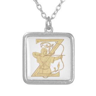 弓矢の手紙Zの引くことを向ける中世Archer シルバープレートネックレス
