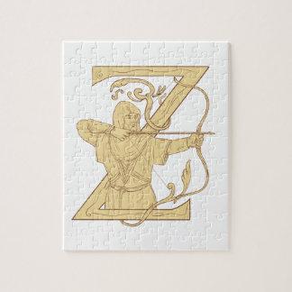 弓矢の手紙Zの引くことを向ける中世Archer ジグソーパズル