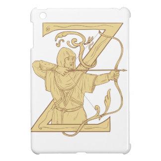 弓矢の手紙Zの引くことを向ける中世Archer iPad Miniケース