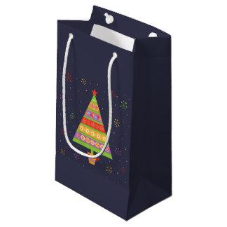 弓結び目が付いているポットの明るいモミの木 スモールペーパーバッグ