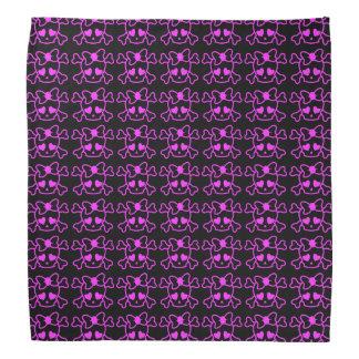 弓10代の少女の黒のピンクのガーリーなemoのスカル バンダナ