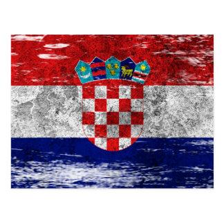 引きずられ、擦り切れたなクロアチアの旗 ポストカード