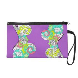 引き分けのパズルの渦巻は紫色のバッグの悪賢いデザインを袋に入れます! リストレット