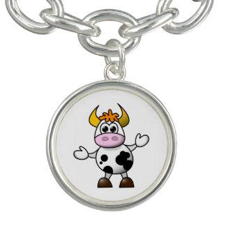 引き分けの漫画の白黒牛Bull チャームブレスレット