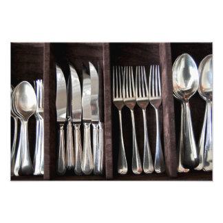 引くことの写真撮影ポスターの銀製の食事用器具類 フォトプリント