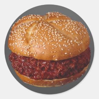 引っ張られたポークサンドイッチ 丸形シールステッカー