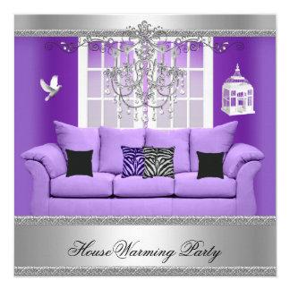 引っ越し祝いパーティーのパーティーのシャンデリアの紫色のソファーの銀 13.3 スクエアインビテーションカード