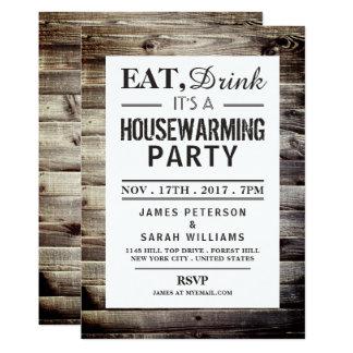 引っ越し祝いパーティーのパーティーの素朴な木を食べて下さい、飲んで下さい カード