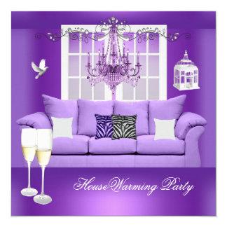 引っ越し祝いパーティーの紫色のシャンペンのシャンデリアのソファー カード