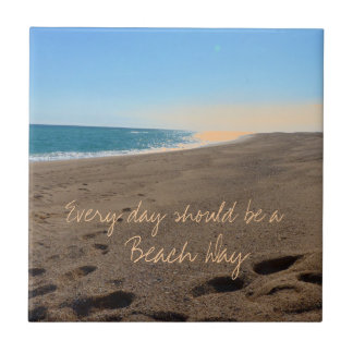 引用文のビーチ 正方形タイル小