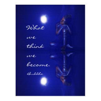 引用文の仏の神秘的で青い反射 ポストカード