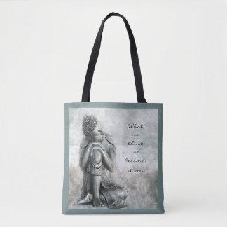 引用文の平和な銀製の仏 トートバッグ