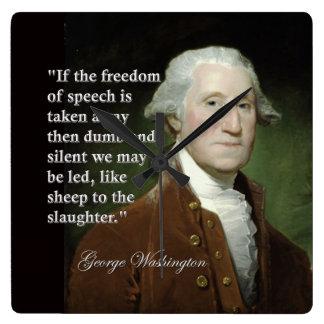 引用文の時計ジョージ・ワシントンの言論の自由 スクエア壁時計