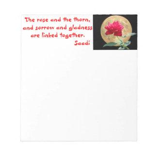 引用文の満月そして赤いバラ ノートパッド