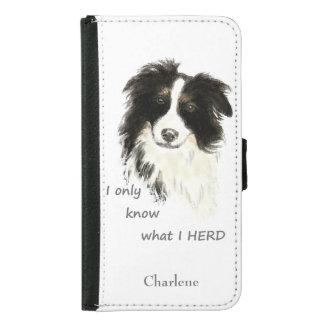 引用文を集める水彩画のボーダーコリー犬のユーモア GALAXY S5 ウォレットケース