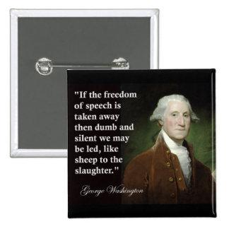 引用文ジョージ・ワシントンの言論の自由 5.1CM 正方形バッジ