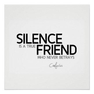引用文: 孔子: 沈黙は真の友達です ポスター