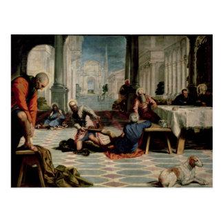 弟子の足を洗浄しているキリスト ポストカード