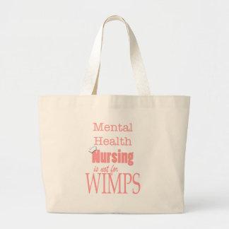 弱虫のための精神衛生の看護ない! -ピンク ラージトートバッグ