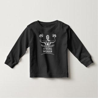 強い女性の幼児の暗い長袖のTシャツ トドラーTシャツ