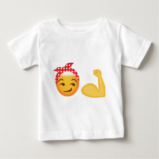 強い女性のemoji ベビーTシャツ