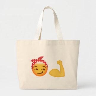 強い女性のemoji ラージトートバッグ