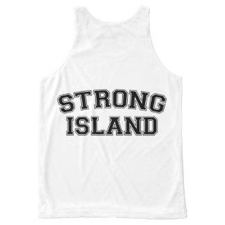 強い島、NYC、米国 オールオーバープリントタンクトップ