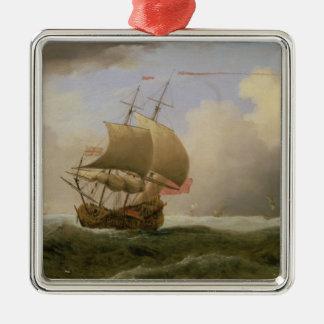 強い微風で終わり強く引かれる英国の船 メタルオーナメント