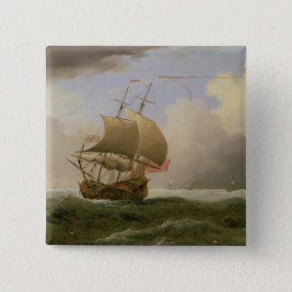 強い微風で終わり強く引かれる英国の船 5.1CM 正方形バッジ