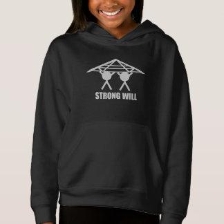 強い意志の黒のプルオーバーのフード付きスウェットシャツ