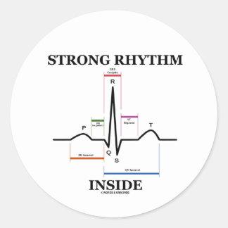 強い リズム 中 (ECG/EKG 心拍) 丸形シールステッカー