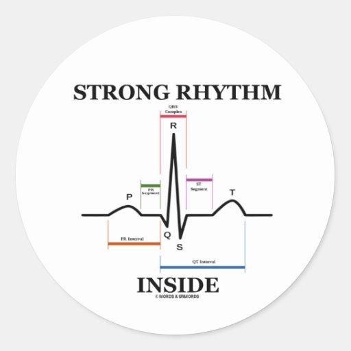 強い|リズム|中|(ECG/EKG|心拍) 丸形シールステッカー