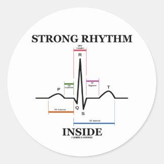 強い|リズム|中|(ECG/EKG|心拍) 丸形シール・ステッカー