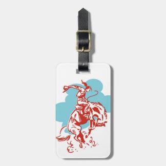 強く反対する馬の女性のカーボーイの赤いスケッチ ラゲッジタグ