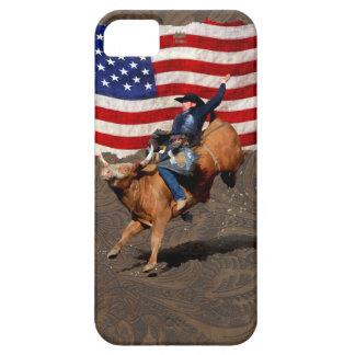 強く反対するBullのロデオのカウボーイ、模造のな革の米国の旗 iPhone SE/5/5s ケース